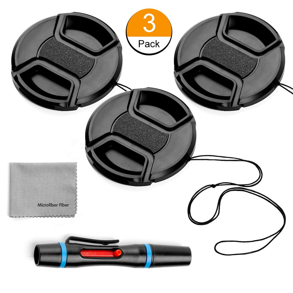 77mm Lens Cap Bundle, 3 Pack Universal Snap on Front Centre Pinch Lens Cover Set with Microfiber Lens Cleaning Cloth for Canon Nikon Sony Olympus DSLR Camera + Camera Lens Cleaning Pen