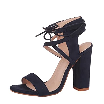 29b8dc65d64 Anxinke Hot Sale Women Chunky Sandals Strappy High-heeled Dress Shoes Open  Toe Platform Block
