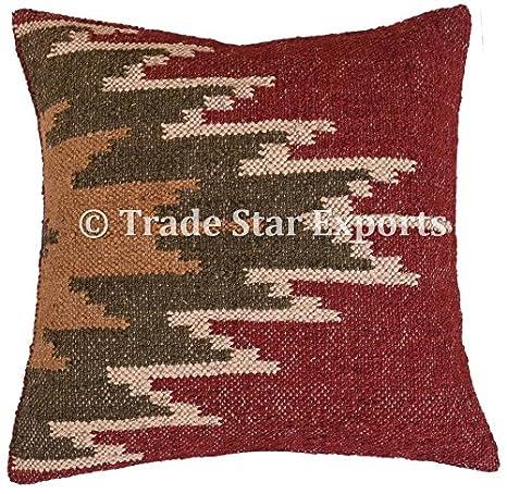 Vintage Kilim funda de almohada, tejida a mano, yute cojín ...