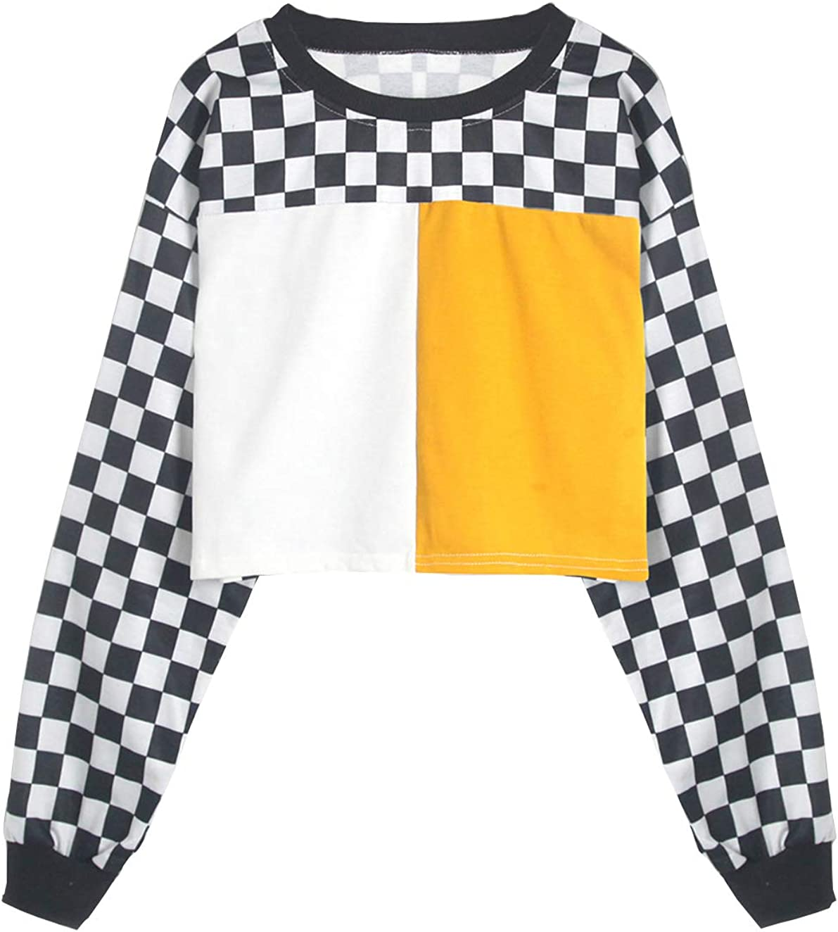 Cute Sweatshirts for Teen Girls Checkered Patchwork Shirt Jacket Crop Top Cropped Pullover Jumper Sweater Tops