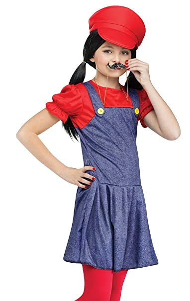 amazoncom fun world kids video game plumber brothers red girls halloween costume clothing