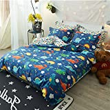 ClothKnow Dinosaur Bedding Duvet Cover Sets Twin Boys 100 Cotton Set of 3 - 1 Duvet Cover with Zipper 2 Envelope Pillowcases Standard