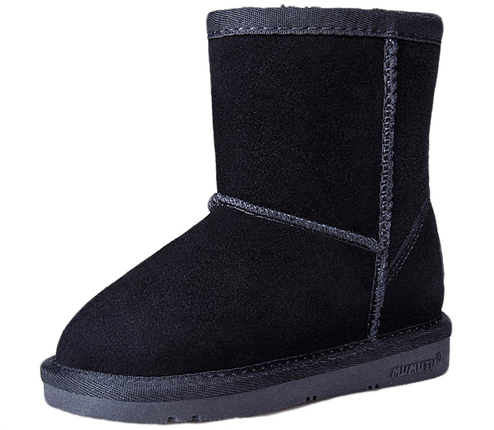 VECJUNIA Girls Boys Waterproof Snow Boot Cold Weather Anti Slip Winter Mid Boots Black 6 M US Toddler