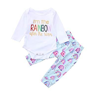2776028055e Amazon.com  WARMSHOP Baby Girl Clothes Infant Outfits Set 2 Pieces Letter  Print Long Sleeve Romper Tops+Rainbow Casual Pants  Clothing