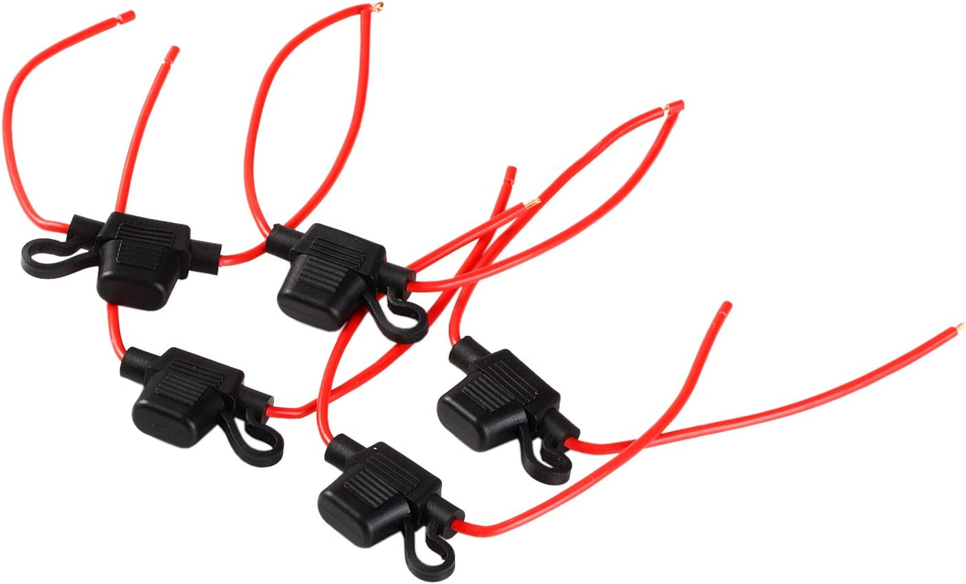 5 x LFM ATC FUSE HOLDER 12 G RED WIRE AND BLACK FUSE HOLDER