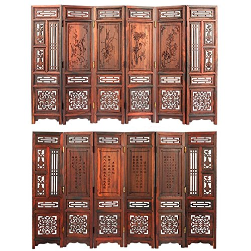 (Tangfoo Home Decor Rosewood Small Folding Decorative Screen Promotion Movable Table Screen Shabby Retro Chic Home Decoration Accessories (6))