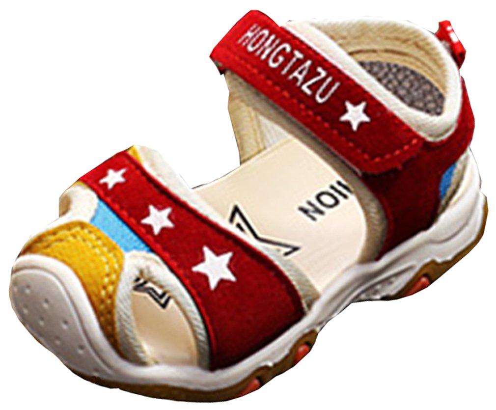 VECJUNIA Baby Boy's Girl's Sports Sandals Low Top Closed Toe Flexible Anti-Slip Outdoor Walking Sandals (Wine Red, 7.5 M US Toddler)