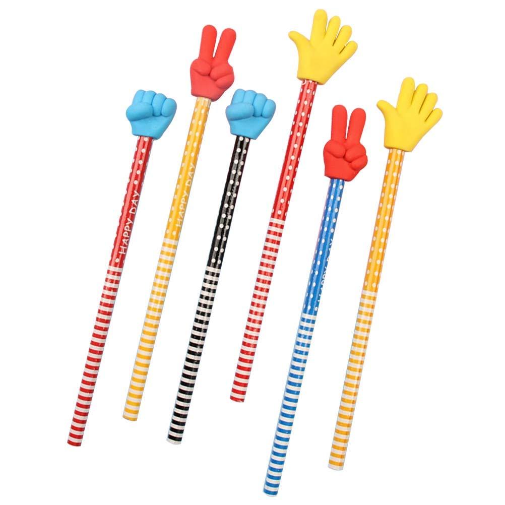Zuf/ällige Farbe TOYMYTOY 12 St/ücke Nette Bleistifte mit Finger Geste Radiergummi f/ür Kinder Studenten Studie Party Favor Schulbedarf