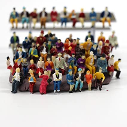 CWBPING 50pcs 1:87 HO Scale Tiny People Model People Hand Painted Model  Train Park Street Passenger People Figure Sitting Pose