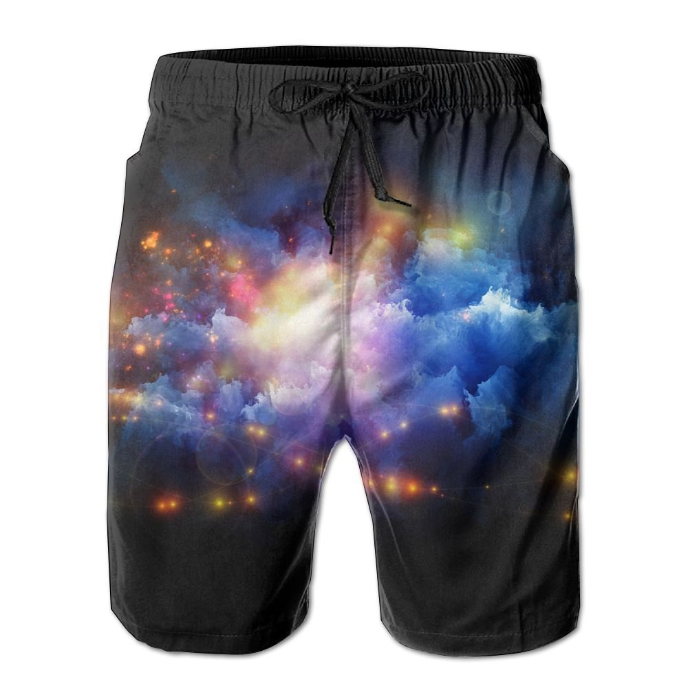 Personalized Cool Space Pattern Shorts For Men Elastic Waist Pockets Lightweight Beach Shorts Boardshort Large
