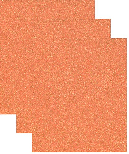 Siser Glitter Heat Transfer Vinyl HTV for T-Shirts 10 by 12 Inches (1 Foot) 3 Precut Sheets (Translucent Orange)