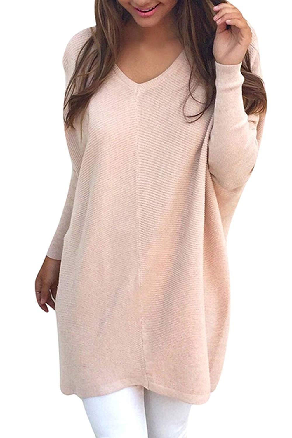 Rela Bota Women's V Neck Oversized Knitted Loose Knitwear Sweater Jumper Pullovers XXX-Large Pink