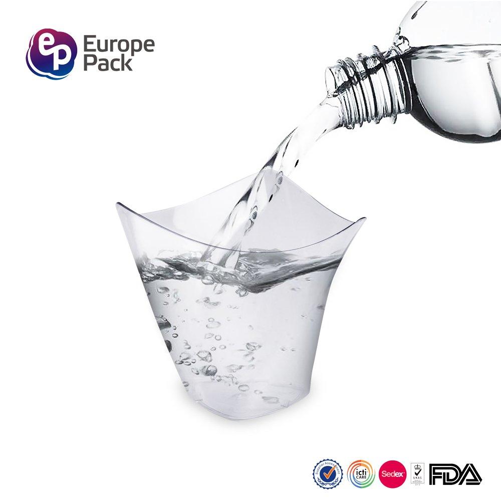 Mini vasos de postre, 50 pzas/Set vasos de postre, mini cubos transparentes para degustación/4 oz (118 ml), envases de vidrio para muestras, elegante vasos ...