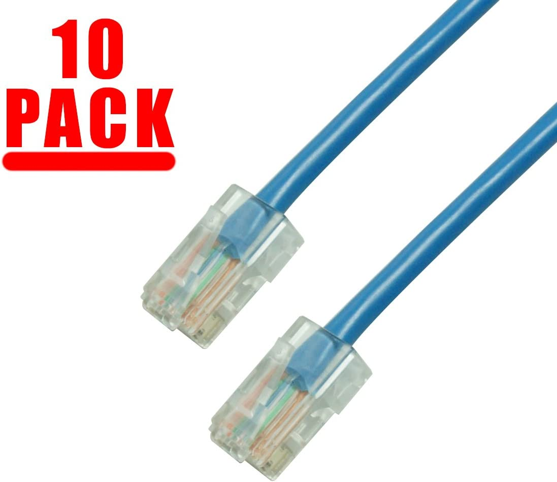 Snagless//No Boot//White CAT6 7 Foot UTP Ethernet Network Patch Cable GRANDMAX 10 Pack Multiple Colors and Sizes