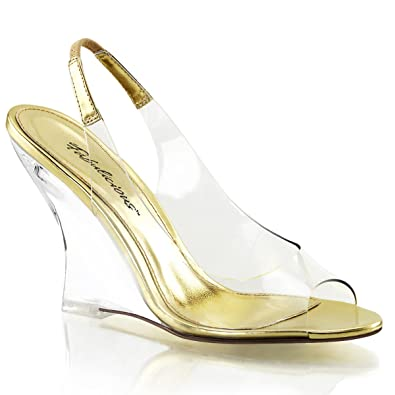 Summitfashions Womens Clear and Gold Slingback Sandals Shoes with 4 Inch Clear  Wedge Heels Size