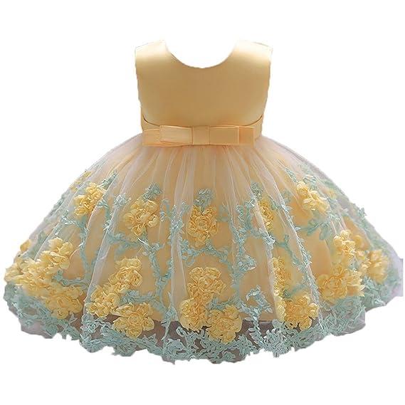 K-youth Vestido Niña Vestido de Encaje Sin Mangas Tutú Princesa Vestido Bebé Niña Verano Ropa Niña Vestido Bebe Niña Bautizo Boda Flores Fiesta ...