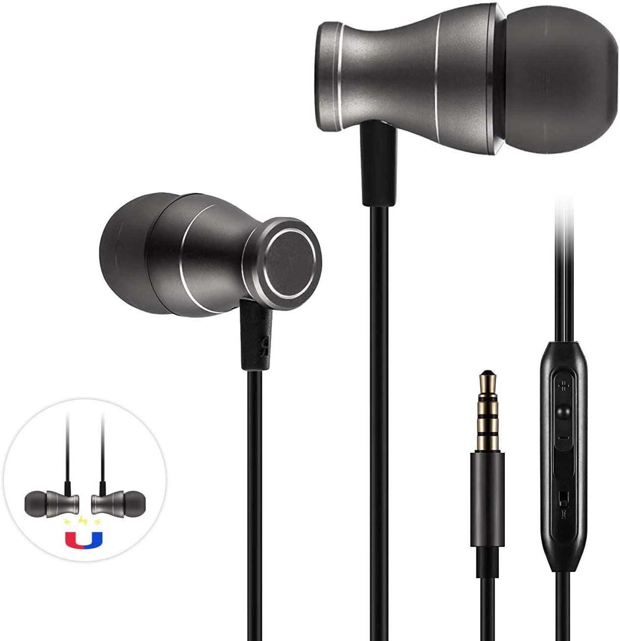 Wired in-Ear Headphones, Magnetic Microphones Earphones Noise Isolating Workout Running Commute Gaming Tangle Free Earbuds with MIC in-line Volume Control for 3.5mm Jack Phones Tablets Black