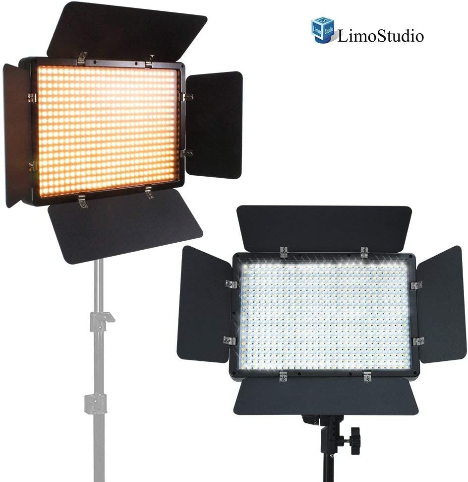 Photo Studio Barndoor Light Brightness Control Available with Cleaning Cloth Continuous Video Light LimoStudio LED 600 Photographic Lighting Panel with Digital Display Screen AGG2385