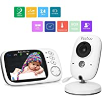 "Tenboo Baby Monitor with Camera Video Baby Monitor Wireless 3.2"" LCD Digital Screen for Signal Transmission Two-Way Talk Support Night Vision Voice Activation Temperature Monitoring Lullabies"