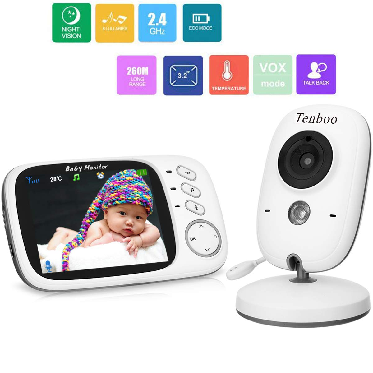 Baby Monitor with Camera Video Baby Monitor Wireless Tenboo 3.2
