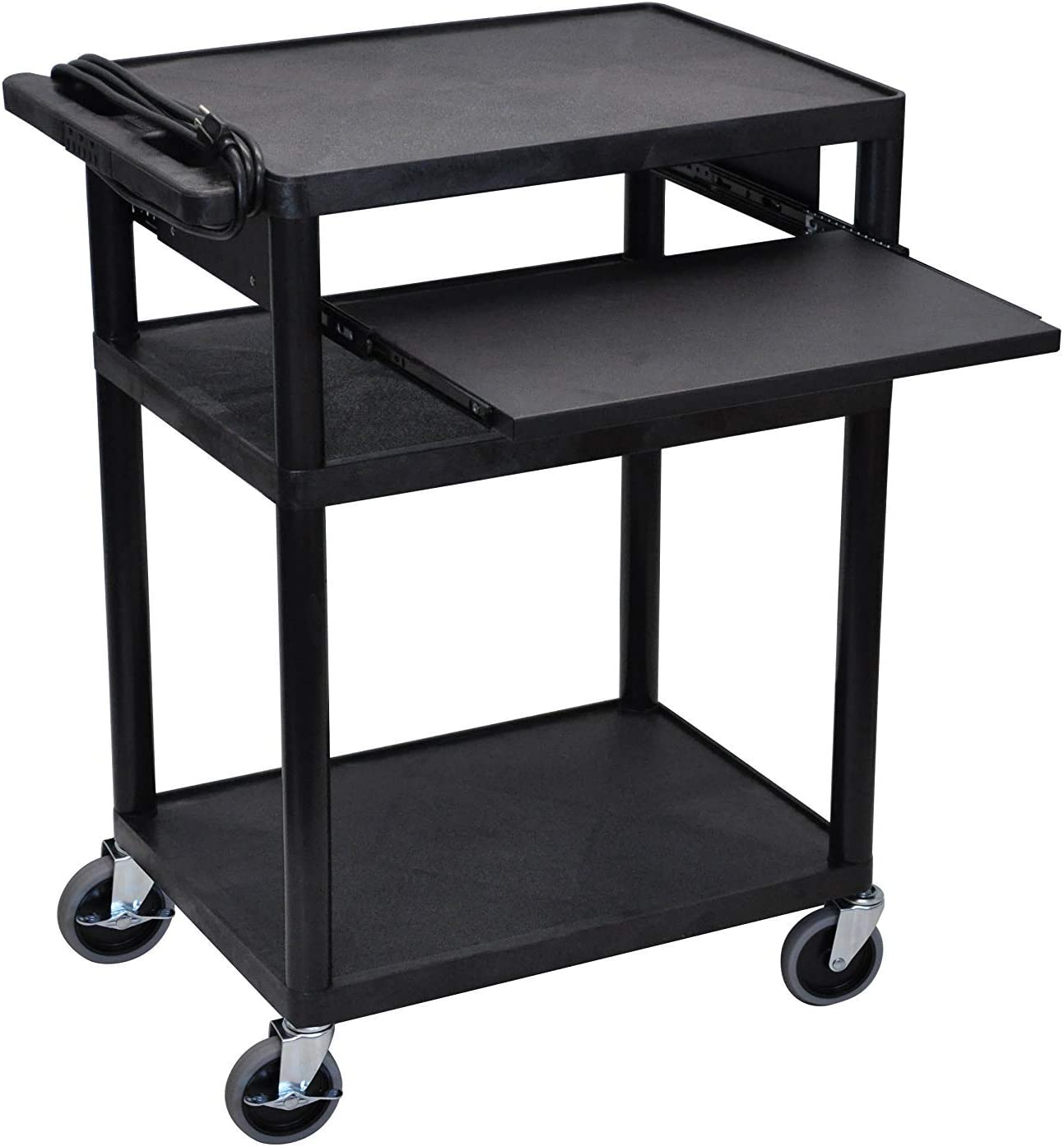"""Offex 34""""H Mobile Electric Audio Video Cart with 3 Shelves and Front Pullout Tray"""