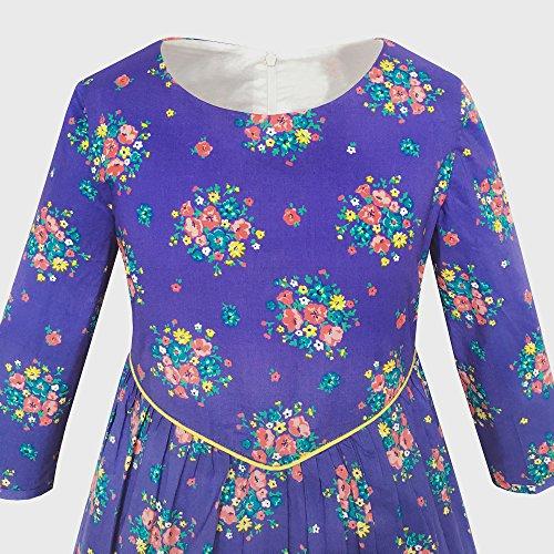 Filles Robe Fleur Pourpre Manches 3/4 Taille De Robe De Soirée Princesse 4-12 Ans Mauve