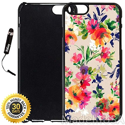 (Custom iPhone 6 Plus/6S Plus Case (Watercolor Flower Paintings) Edge-to-Edge Plastic Black Cover with Shock and Scratch Protection   Lightweight, Ultra-Slim   Includes Stylus Pen by)
