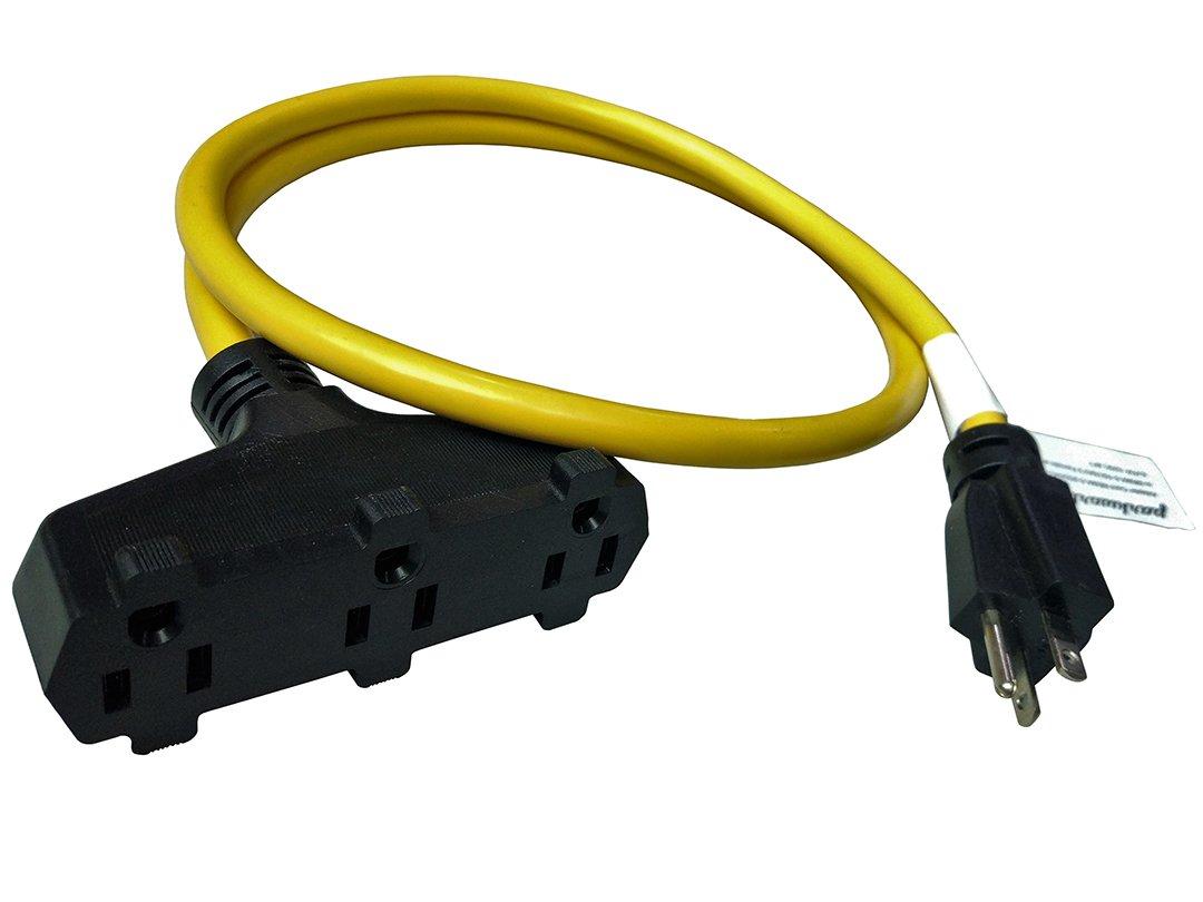 Parkworld 885903 Power Adapter Cord NEMA 5-20P Male to (3) 5-15R Household 15 AMP Female x 3, 4FT
