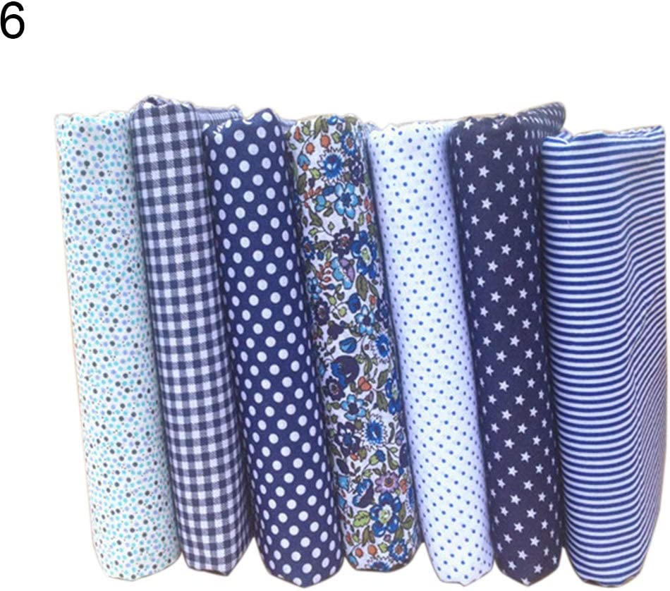 Pack of 7 guohanfsh Set Fabric Floral Plaid Cotton Cloth DIY Craft Sewing Handmade Accessories 1#