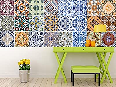 Tile Stickers 24 PC Set Authentic Traditional Talavera Tiles Stickersl Bathroom & Kitchen Tile Decals Easy to Apply Just Peel & Stick Home Decor 6x6 Inch