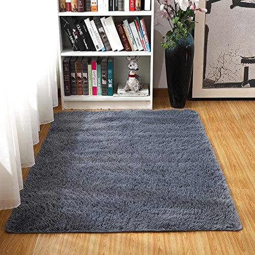 junovo Ultra Soft Area Rugs 4 x 5.3ft Fluffy Carpets for Bedroom Kids Girls Boys Baby Living Room Shaggy Floor Nursery Rug Home Decor Mats, Grey