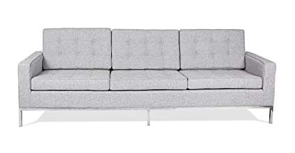 Kardiel FKL3-DACITE Florence Knoll Style 3 Seat Sofa Dacite Retrospeck Twill