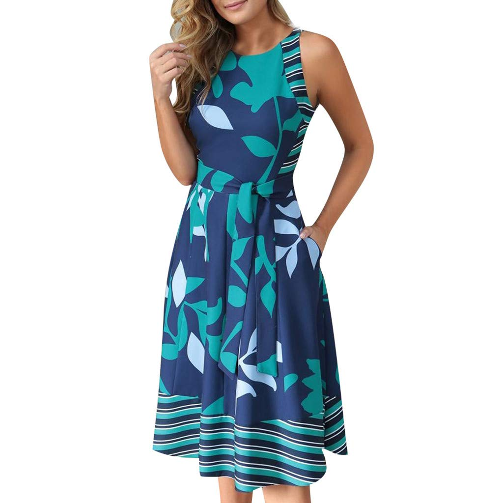 Nmch Summer Plus Size Sleeveless Print Midi Dress for Women Round Neck Casual Dress with Belt Fashion Party Dresses(Blue,XXL)