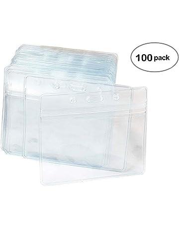 7abe1cf41 100 Piezas De Plástico Transparente De Nombre Horizontal De Identificación  De La Insignia De Titulares De. #3