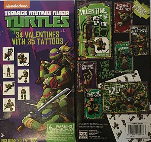 Teenage Mutant Ninja Turtle Valentines & Tattoos ~ 34 count ~ 1 box (Ninja Turtles Sensei)