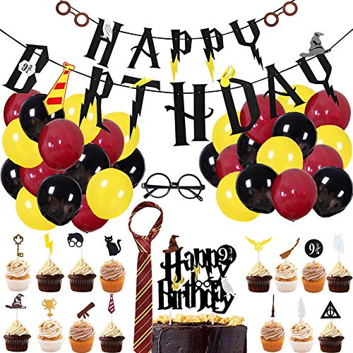 - 63Pcs Magic Wizard Birthday Party Supplies for Kids Wizard Theme Party Decorations with Happy Birthday Banner Striped Tie Novelty Glasses Frame Cupcake Toppers Balloons for Boys Girls