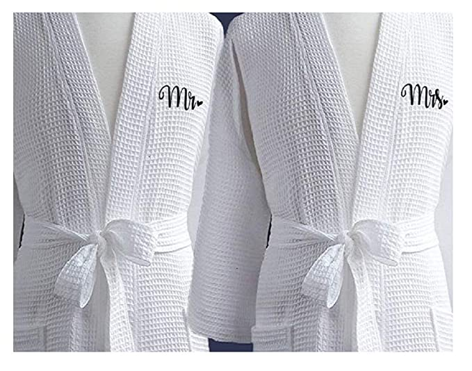 top fashion super cute sports shoes Boca Terry Waffle Cotton Bathrobes Mr. and Mrs. Set Hotel ...