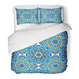 SanChic Duvet Cover Set Oriental Ornamental Laced with Floral and Geometric Embellished Tiles Mandala Indian Arabic Decorative Bedding Set with Pillow Sham Twin Size