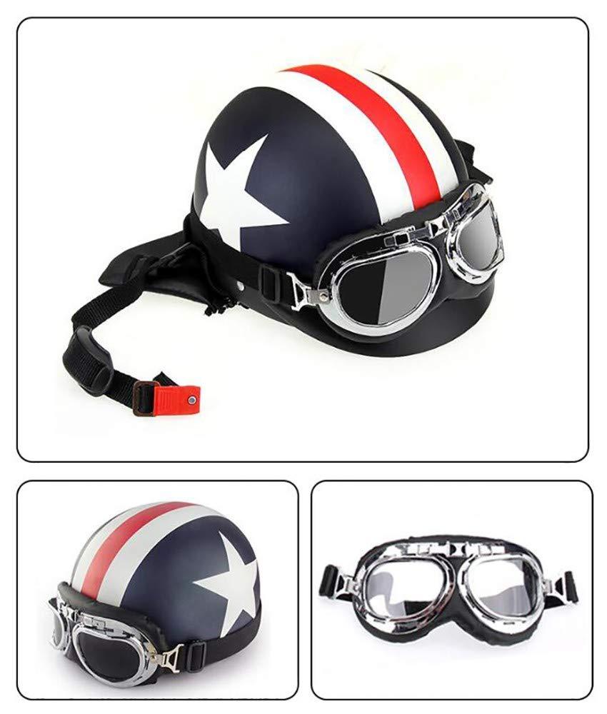Open Face Motorcycle Helmet,Retro Style Leather Scooter Sport Motorbike Jet Pilot Visor ECE Certified for Bound Training Mountain Road Highway Biker Cruiser Chopper 58-62cm