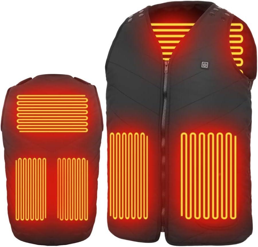 MIROCOO Chaleco Calefactable para Hombre Mujer, Chaquetas con Calefacción USB Eléctrico con 3 Niveles de Temperatura, Chaleco Térmico Ropa de Caza, Exteriores, Senderismo - Tamaño Ajustable, Lavable