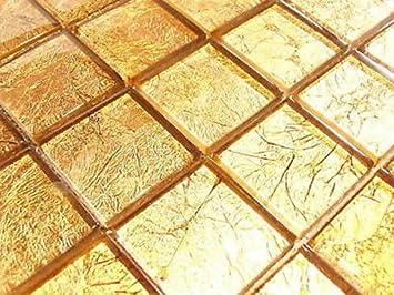 FLIESENTOPSHOP Glasmosaik Mosaik Fliesen Klarglas Metall Gold 10C  Metalloptik Bad Dusche
