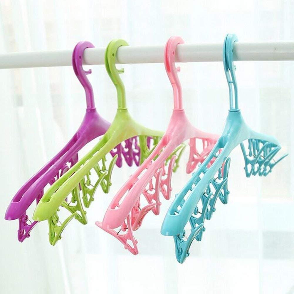 WESEEDOO Cintres en Plastique avec 8 Pinces Multi-Usage S/échoir Etendoir Cintres pour V/êtement De Sport sous-V/êtements Chaussettes Soutien-Gorge Vert 2pcs
