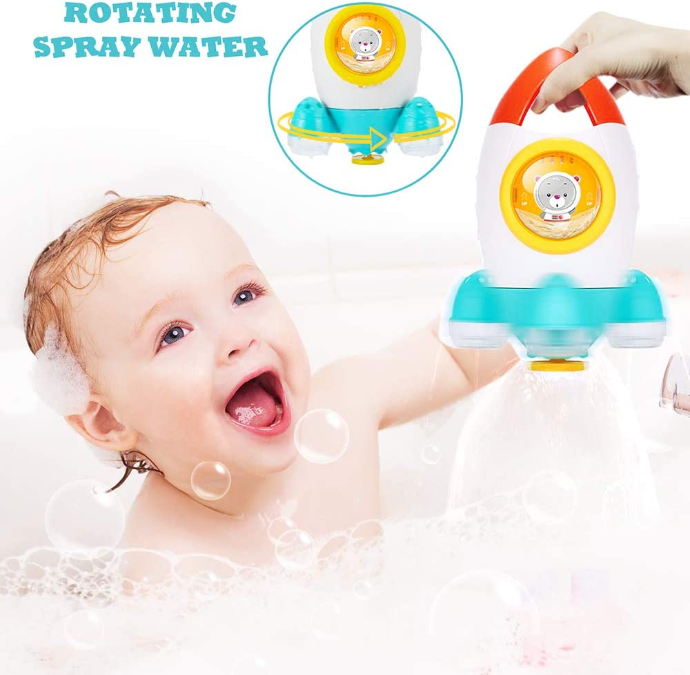 Space Rocket Shape Bath Toys Elovien Bath Time Toys for Infants Spray Water Bathtub Toys for 18 Months,1,2,3,4 Year Olds Toddlers Kids Boys Girls Baby Shower Toys w// Rotating Fountain
