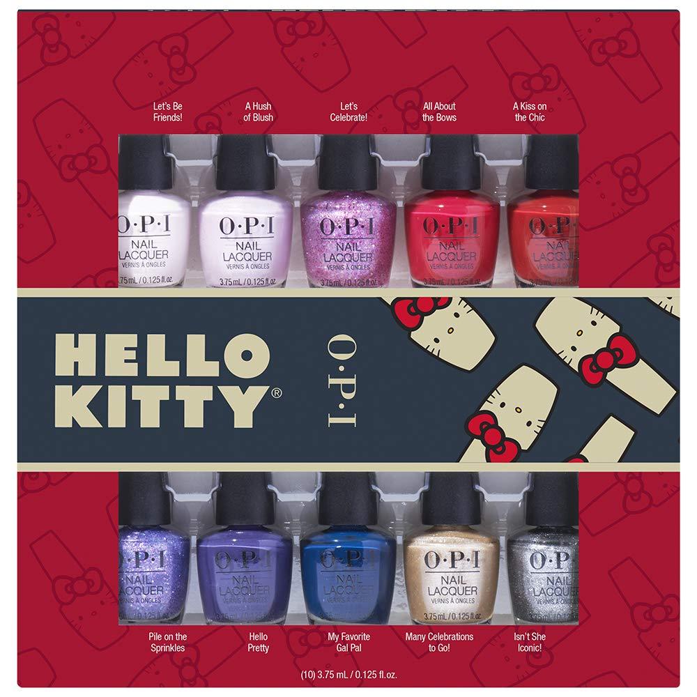 OPI Nl Hello Kitty Holiday Minis - 10 Piece Kit, 37.5 ml, Pack de ...