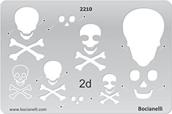 Bocianelli Plastic Stencil Template for Graphical Design Drawing Drafting Jewellery Making - 2D Danger Poison Sign Scull