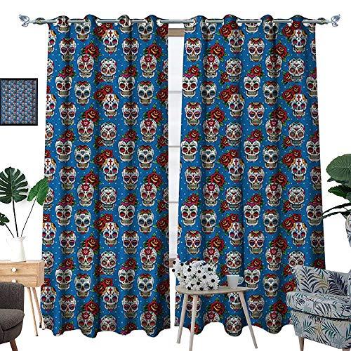 Sugar Skull Room Darkening Wide Curtains Pattern with Skulls