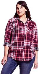 33e0aef3a92db Ava   Viv Women Plus Size Button-Down Long Sleeve Plaid Cotton Shirt