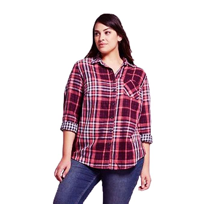 4a1dbfe8e Ava & Viv Women Plus Size Button-Down Long Sleeve Plaid Cotton Shirt Plum 2X