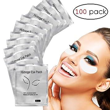 bbc8a7b22f9 Amazon.com: Adecco LLC Under Eye Gel Pads, 100 Pairs Set Eyelash Extension  Pads, Lint Free DIY False Eyelash Lash Extension Makeup Eye Gel Patches:  Beauty