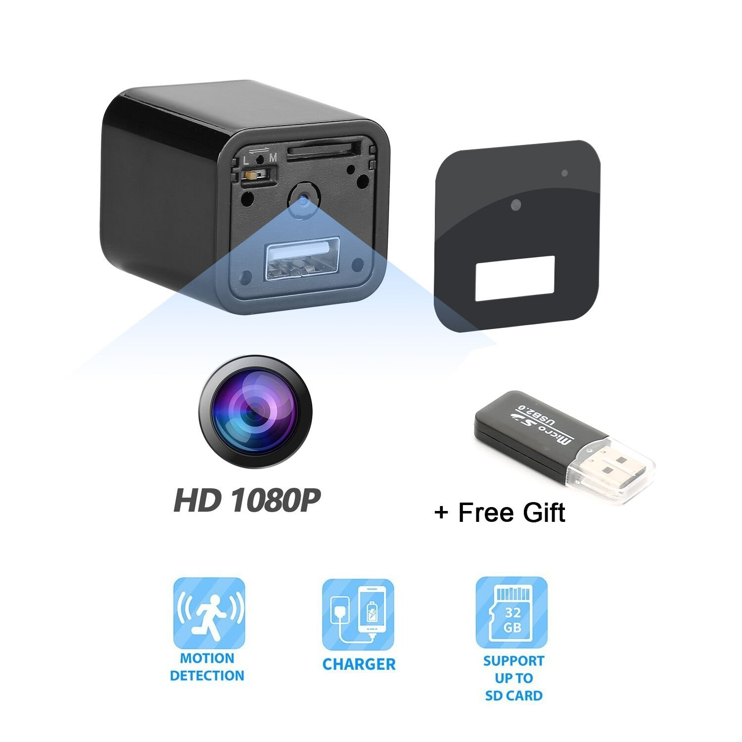 Hidden Camera - Spy Camera Adapter- 1080P HD USB Wall Charger Motion Detection Loop Recording Free Flash Transfer Stick Security Surveillance Your Home Office